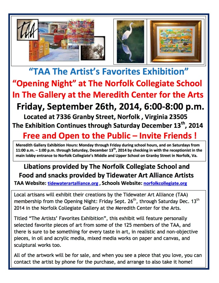 TAA 2014 Artists Favorites Exhibition Card -RCA